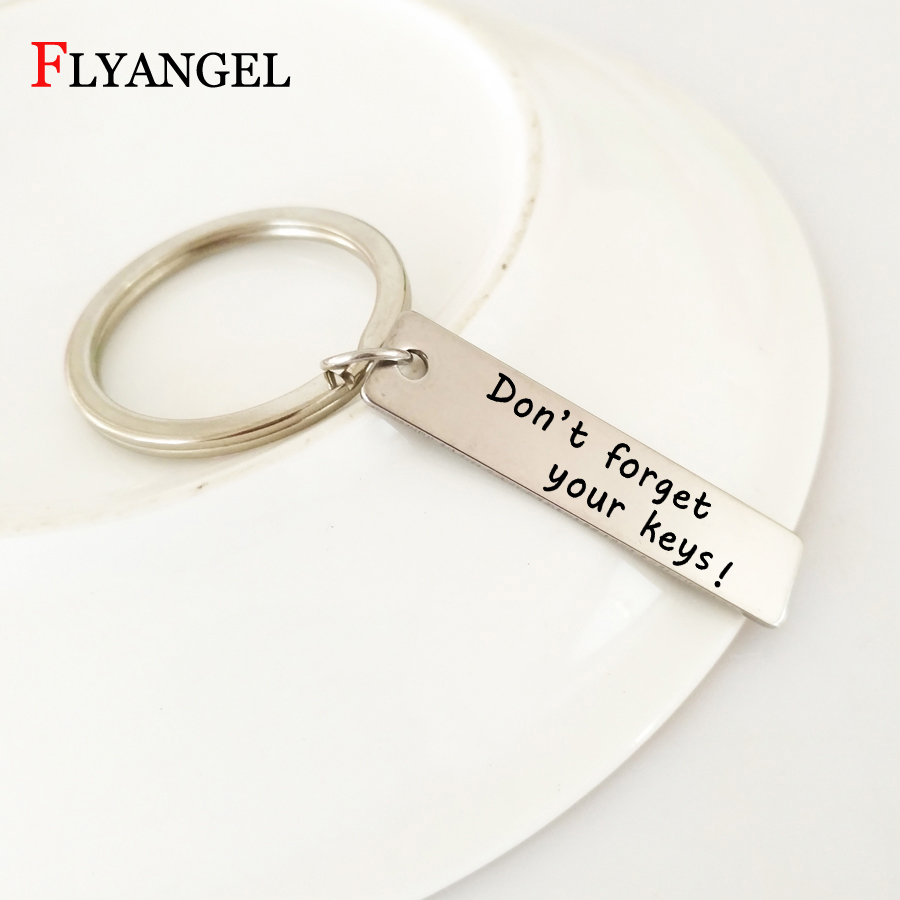 1 Pcs Engraved Don't forget your keys Letter Key Chain Reminder Keyring Gift For Husband Couples Family Members Keychain Jewelry
