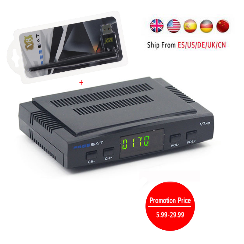 Ship from Spain Digital tv satellite decoder Freesat V7 hd satellite receiver DVB-S2 HD+USB WIFI Support PowerVu Biss Key clines de it es channels dvb s s2 satellite fta lines 1 year cccam clines newcamd usb wifi satellite tv receiver for free shipping
