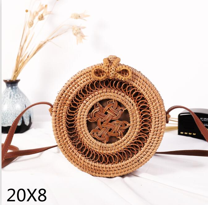 Woven Rattan Bag Round Straw Shoulder Bag Small Beach HandBags Women Summer Hollow Handmade Messenger Crossbody Bags 21