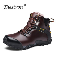Fashion High Quality Men Climbing Boots Ankle Winter Brand Thick Soled Inside Velvet Boot Fur Snow Big Size