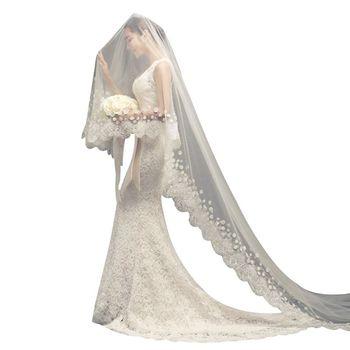 1.5/2/3M One-Layer Women Tulle Long Trailing Wedding Veil Wide Embroidered Floral Lace Trim Cloth Petals Romantic Bridal Veil Bridal Veils