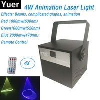 Free Shipping 4W RGB Full Color Animation Laser Light DMX Laser Projector With Remote Lumiere Disco Lights Dj Party Stage Light