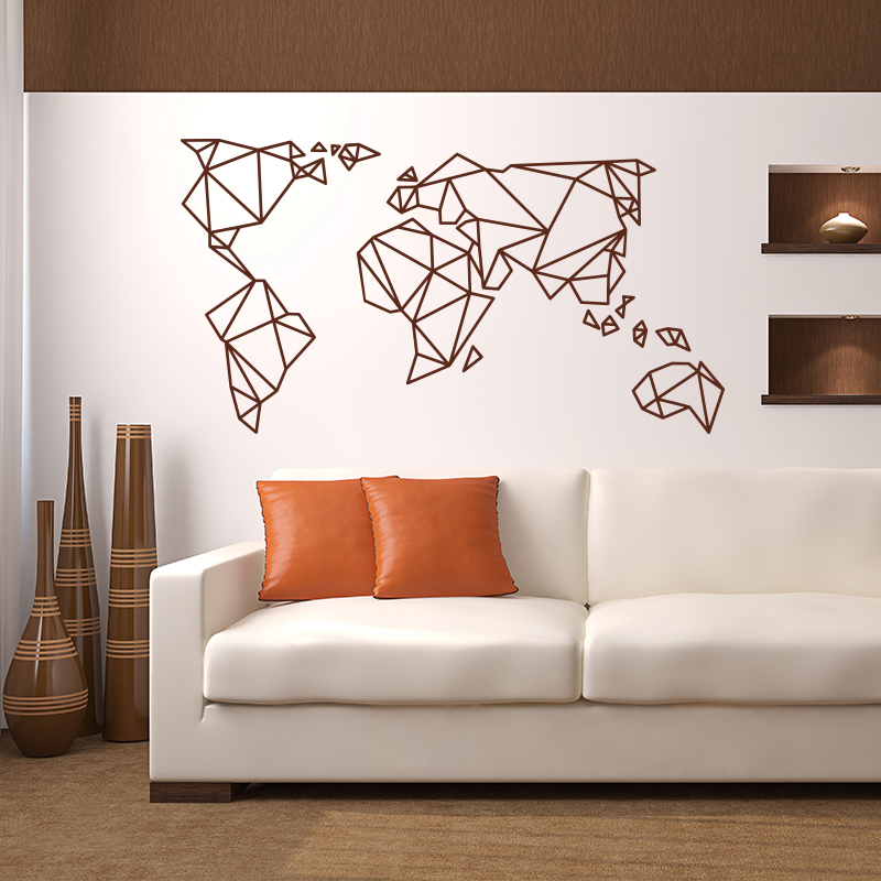 456bdb2aa Origami World Map Wall Stickers Home Decor Vinyl Wall Decal Creative  Pattern Removable Mural For Living Room-in Wall Stickers from Home   Garden  on ...