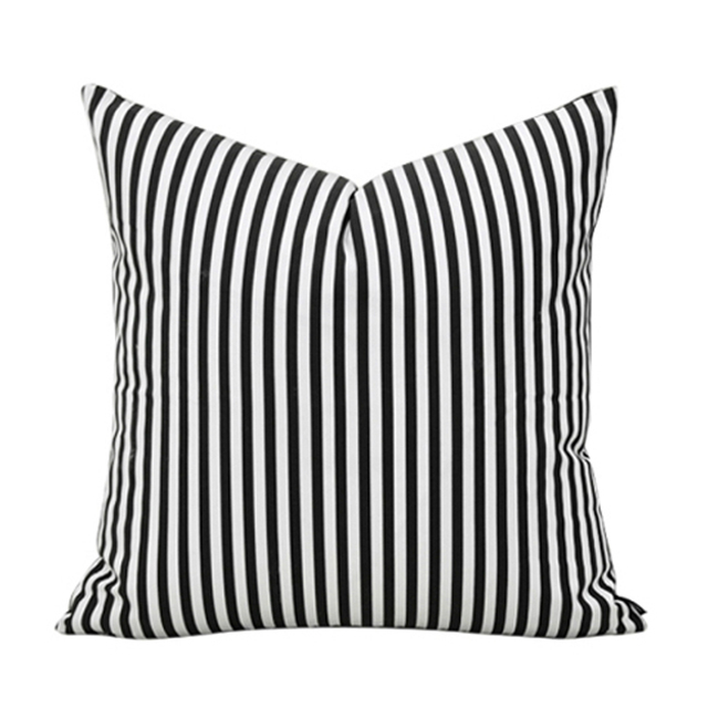 Brief Simple Style Black White Stripe 100% Cotton Home Decor Throw Pillow  Cases Sofa Cushions