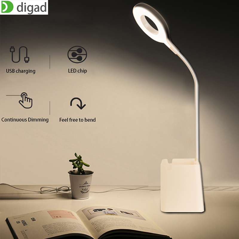 Digad Stepless Touch Dimming Desk Lamp USB Led Table Pen Holder with Bed Reading Book Light LED