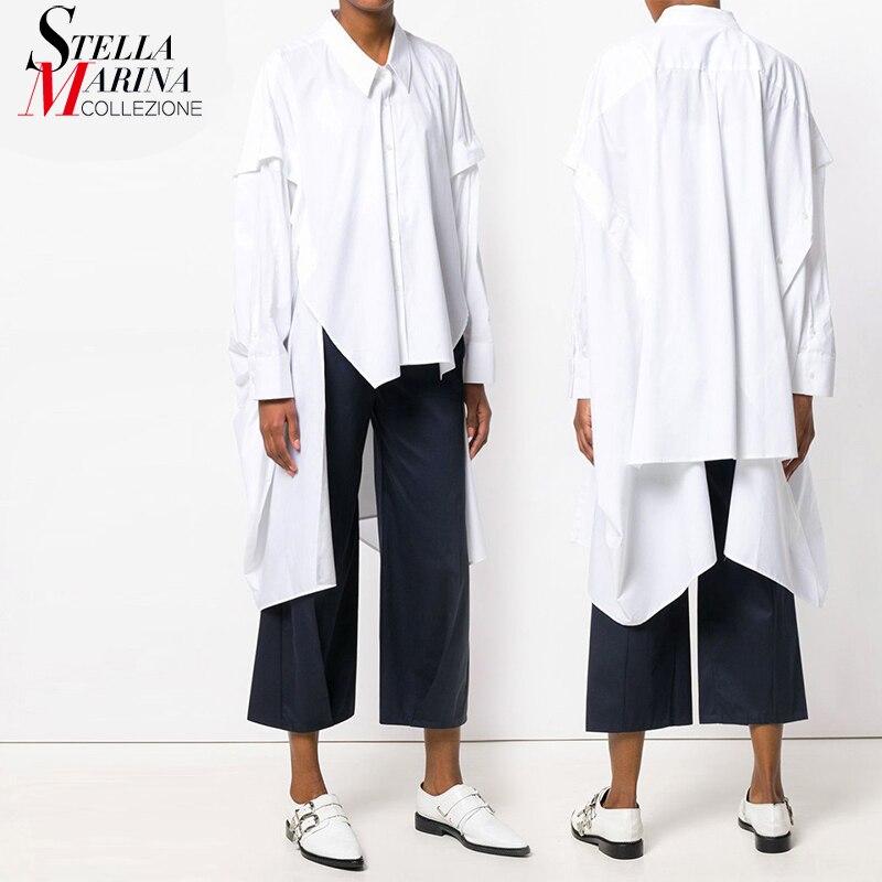 New 2018 Korean Style Long Sleeve Solid Black White Asymmetrical   Blouse     Shirt   Ladies Zippers Feminine   Shirt   chemise femme 3665