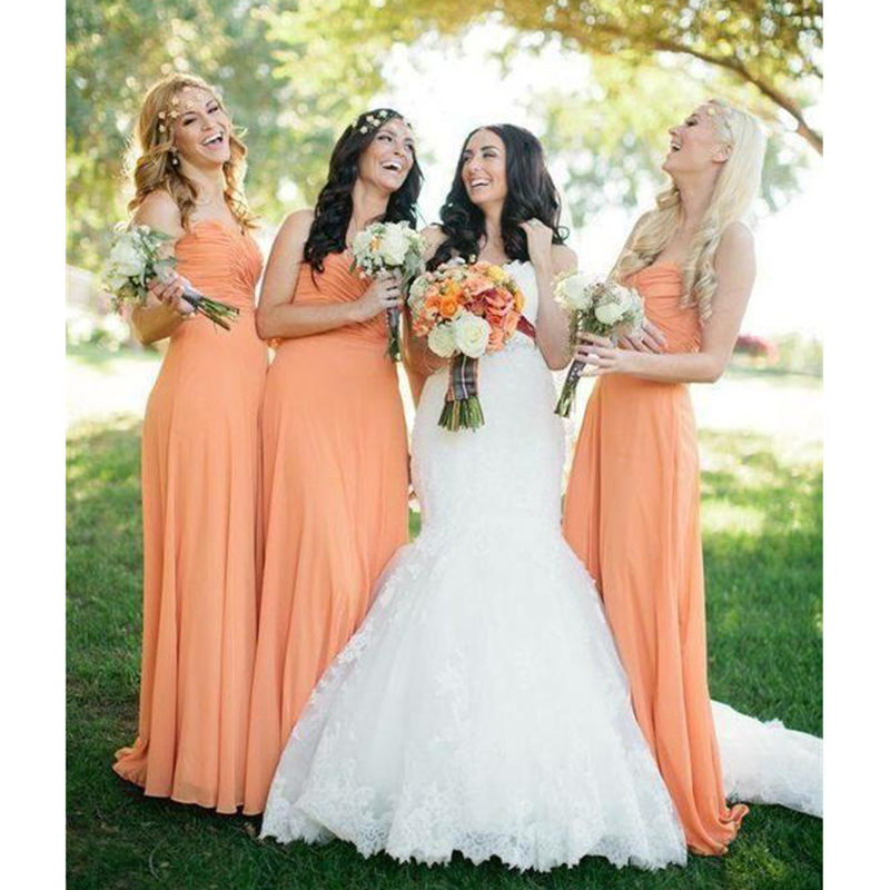 2019 Sweetheart Neck   Bridesmaid     Dresses   Chiffon Floor Length Garden Country Style Maid Of Honor Wedding Guest Gown Custom Made