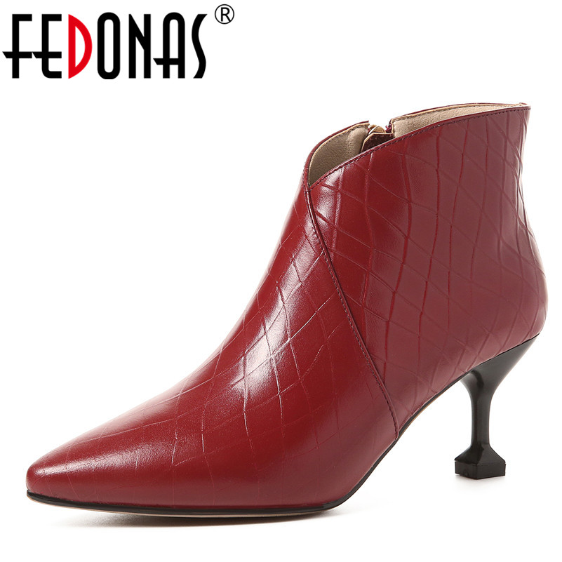 FEDONAS 1Fashion Women Ankle Boots Genuine Leather Autumn Winter Warm High Heels Shoes Woman Pointed Toe Concise Ladies BootsFEDONAS 1Fashion Women Ankle Boots Genuine Leather Autumn Winter Warm High Heels Shoes Woman Pointed Toe Concise Ladies Boots