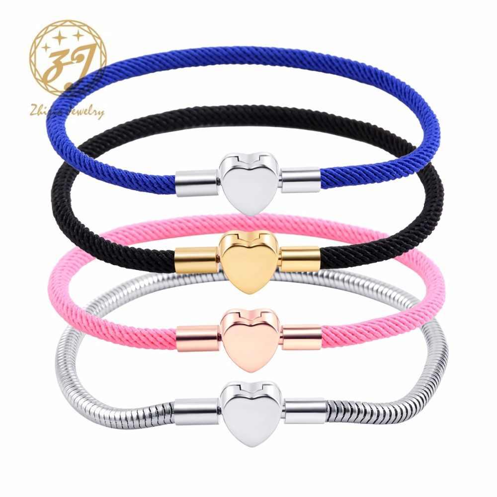 Zhijia 真新しい高級ステンレス鋼ハートブレスレットジュエリーラッキーレッド/ブルー/ピンクの文字列スレッドブレスレット女性のための子供