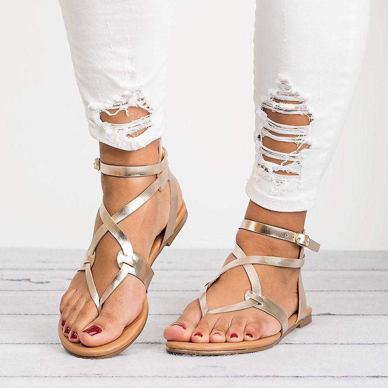 Gehemmt Selbstbewusst Befangen Verlegen Frauen Sandalen 2019 Mode Verband Gladiator Sandalen Sommer Schuhe Frau Lässige Rom Stil Flache Sandalen Strand Chaussures Femme 2019 Offiziell Unsicher