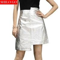 SHILO GO New Fashion Street Women's Empire Pocket Sliver Irregular Formal Sheepskin Genuine Leather Skirt Ladies Concise Skirt