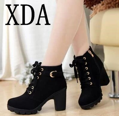 XDA 2018 Size 35-41 New High Quality Women Boots Women Winter Boots High Quality Solid Lace-up PU Fashion Shoes Woman Ankle Boot