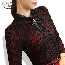 Осень-зима модная кружевная блузка с длинным рукавом тонкие цветочные кружевные женские рубашки-топы и блузки элегантные больших топы размеров 801 г 25
