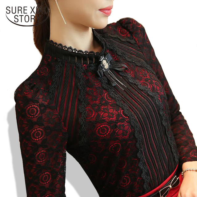 e659e85e0d1 2018 Autumn Winter Fashion Lace Blouse Long Sleeve Slim Floral Lace Shirt  Womens Tops and blouses