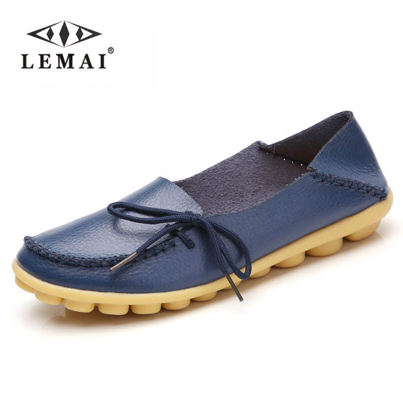 7bfd317d4636 New Arrive Flats Women Four Seasons 2018 Casual Shoes Women Flat Heel Cow  Muscle Outsole Fashion