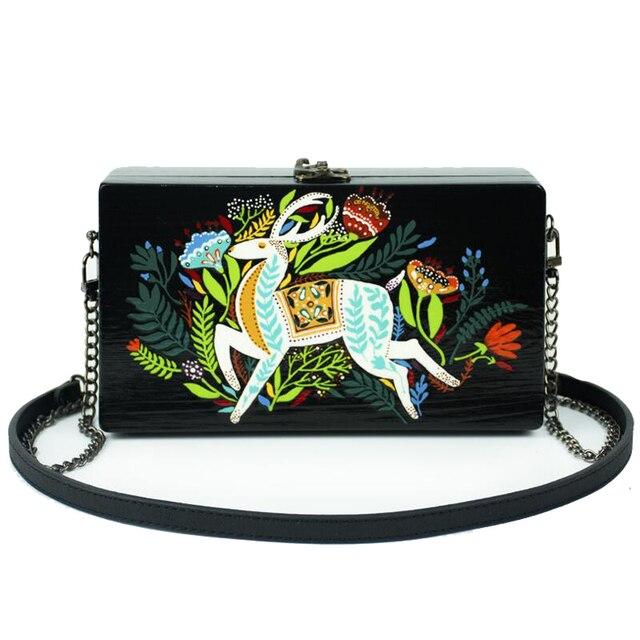 Уникальный Дизайн Женщины ручной работы сумочка ретро ручная роспись цвет олень сумка кошелек сеть кошелек клатч XPU1200
