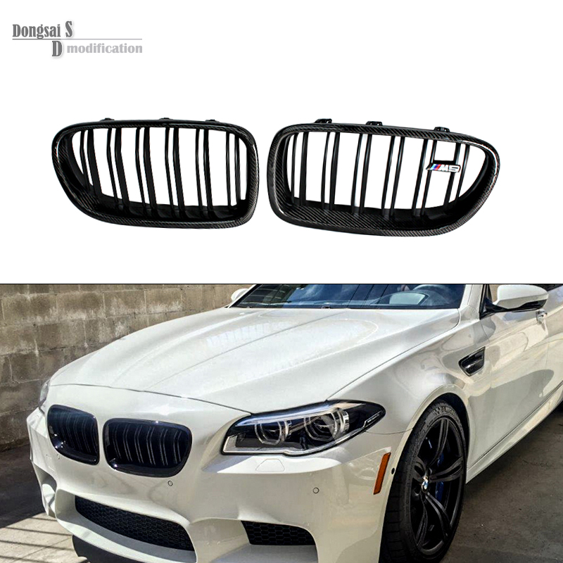 Made in taiwan carbon fiber material M5 look front kidney grill grille for BMW 5 series F10 sedan 2010 + 520i 525i 530i 535i for bmw 3 series e46 2door facelifted coupe 2004 2005 2006 carbon fiber black front grille grill left