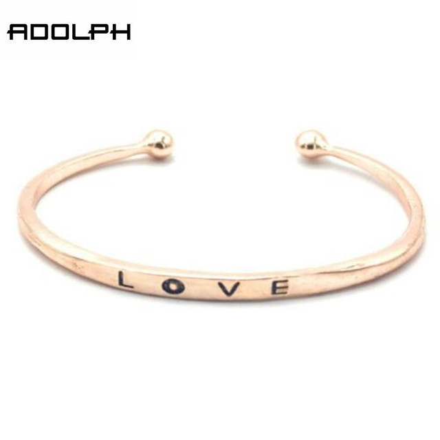 Star Jewelry Wholesale For Women 2016 New Design Fashion Bracelet Love word Three Colors Alloy Bracelets & Bangles Hot Sale