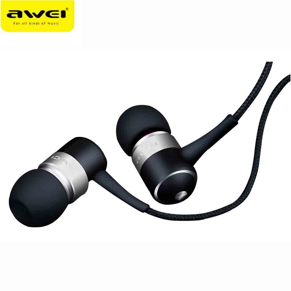 AWEI ES Q3 Wired Headphone Stereo In-Ear Earphone Super Bass HIFI Sound Headset For Phone MP3 MP4 Players awei es q5 red