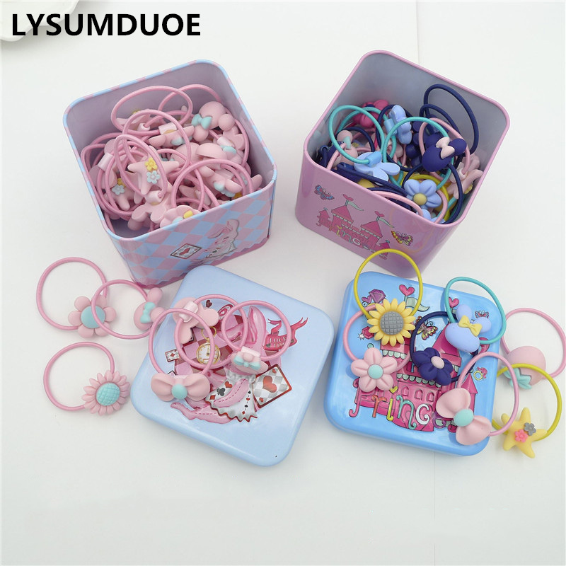 40Pcs/Lot Hairband Flower Bow Rope Cartoon Headband Box Set Gift Scrunchy Children Elastic Bands Girl Wedding Hair Accessories free shipping 2 colors newborn kid girl elastic flower headband hairband hair accessories