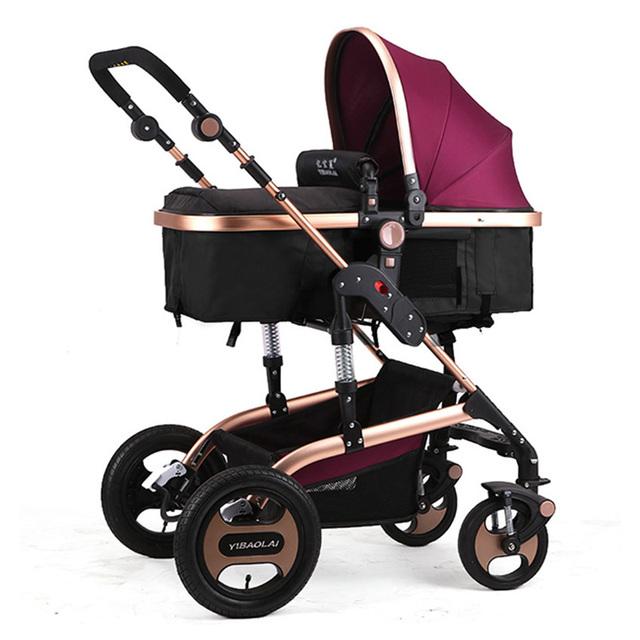 Boa Qualidade Carrinho de Bebê Dobrável Sentar e Deitar Newborn Pushchair Buggy Carrinho de Bebê Da Criança Alto Landscap 5 Cores