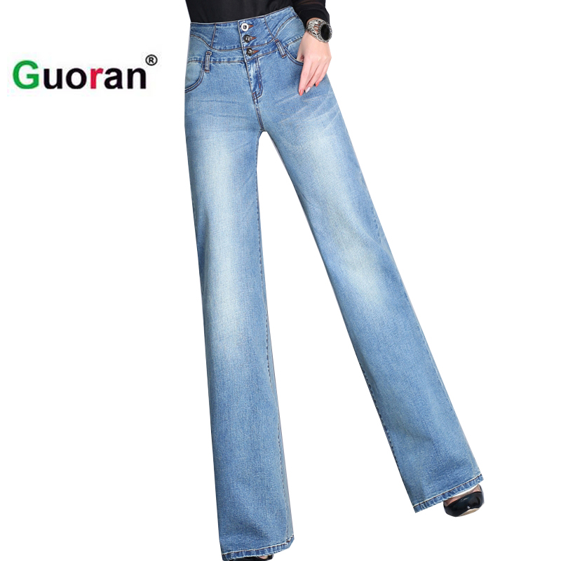 {Guoran} Plus size 33 32 loose trousers female washed denim jeans trousers high waist casual femme pantalon 2017 summer new цены онлайн