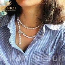 ASHIQI 90 سنتيمتر مثقف لؤلؤ مستزرع في الماء العذب قلادة 925 الفضة طويلة سترة سلسلة الموضة ارتصاف مجوهرات النساء هدية