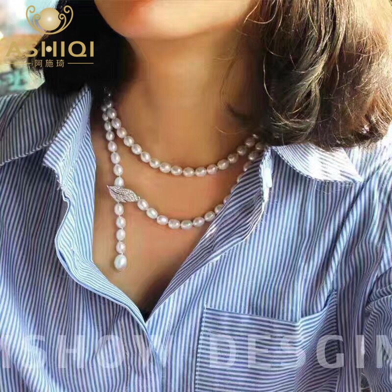 ASHIQI 90CM Cultured Natural Freshwater Pearl Necklace 925 silver Long Sweater chain Fashion collocation Jewellery women gift 2pcs car trunk lid lifting device spring for corolla mistra teana for kia k2 k3 k5 for cruze for accord city cerato for sonata