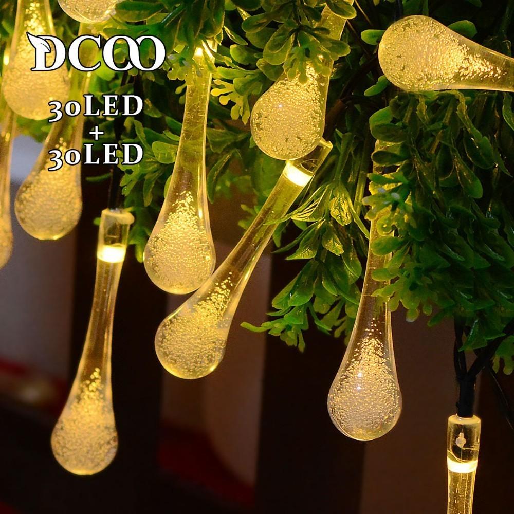 Dcoo 2 stycken Waterdorp 30 LED Solstrålkastare 8 Modes Vattendropp - Utomhusbelysning