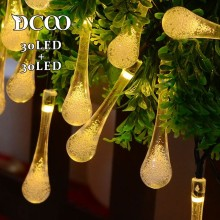 Dcoo 2 Pieces Waterdorp 30 LEDs Solar String Lights 8 Modes Water Drop Led Solar Light Outdoor Party Garden Wedding Decoration dcoo solar led string light 100 light 8 modes fairy lighting garden party christmas holiday outdoor lighting wedding decoration