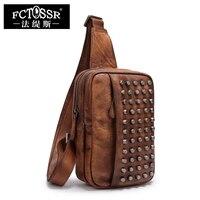 Small Messenger Bags 2017 Handmade Genuine Leather Women Men Chest Pack Vintage Rivet Ladies Shoulder Bags