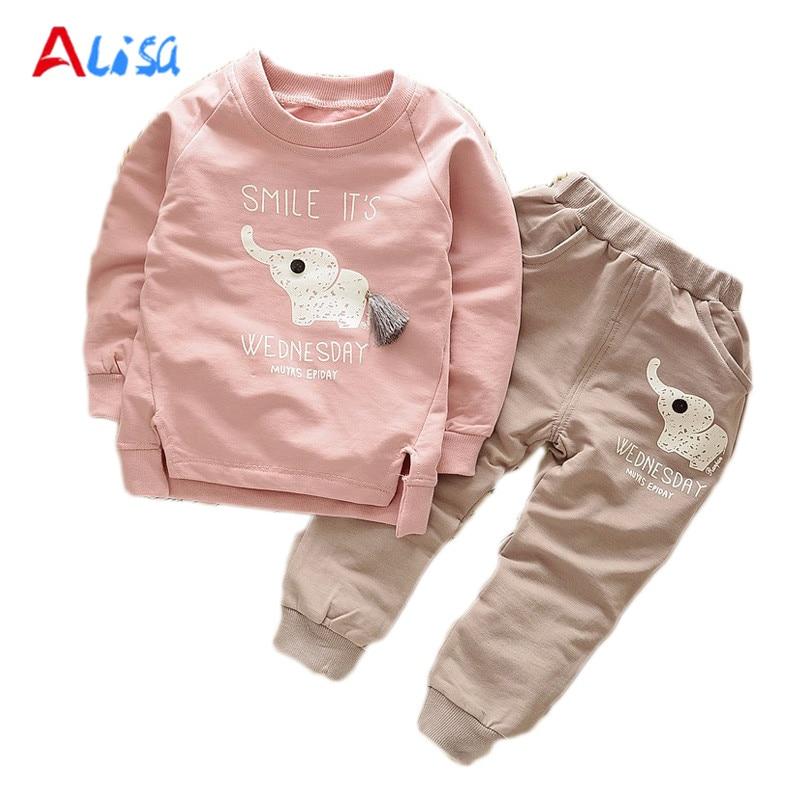 2016 New Autumn Spring baby children boys girls Cartoon Elephant Cotton Clothing Sets T Shirt Pants