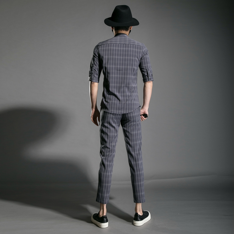 M XXL!! Trend Men's Youth Slim Personality Night Field Hair Stylist Clothing Plaid Nine Pants Half Sleeve Shirt Set. - 2