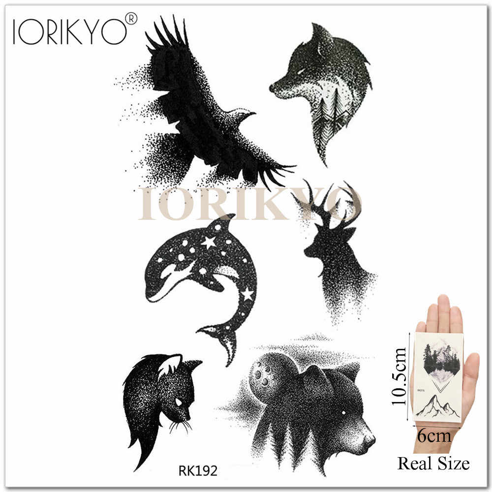 0cb85327a ... IORIKYO Pencil Sketch Hummingbird Tattoo Women Rose Flower Temporary  Tattoo Stickers Men Neck Wolf Fake Bird