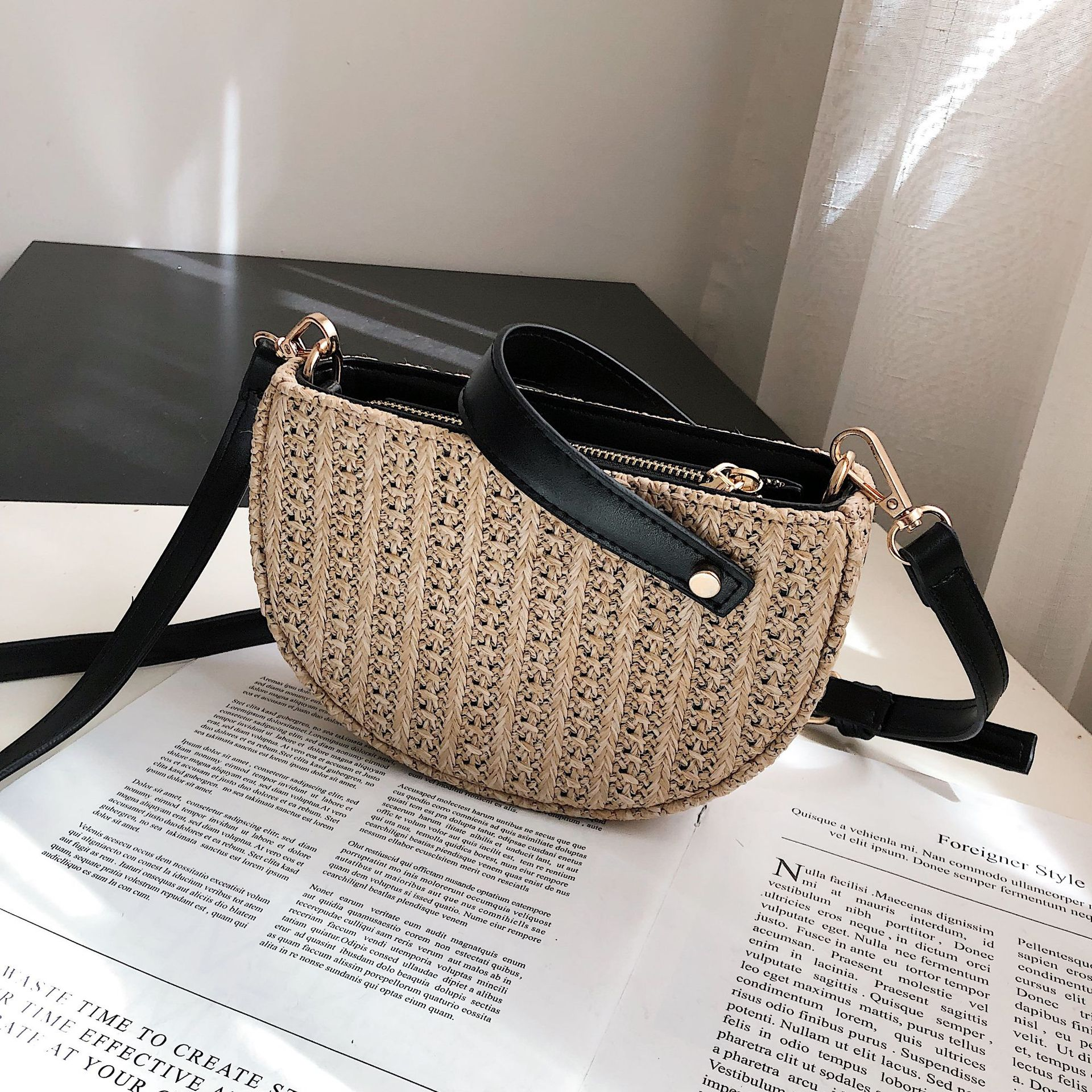 Luxury Bucket Designer Summer Beach Straw Bags for Women 2019 Zipper Weaving Shoulder Messenger Fashion