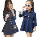 2017 new mother daughter dresses mother and daughter clothes mommy and me dress denim long sleeve autumn girls dress family look
