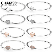 CHAMSS PD Charms Silver 925 Original in Bracelet ROSE Pave Heart Shape Heart Shaped Cuff Bracelet Valentine's Day Gift