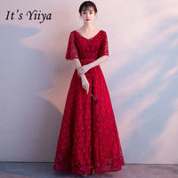 It's YiiYa New Bling Lace Bridesmaid Dresses Simple More Colors Illusion Tulle Frocks H012