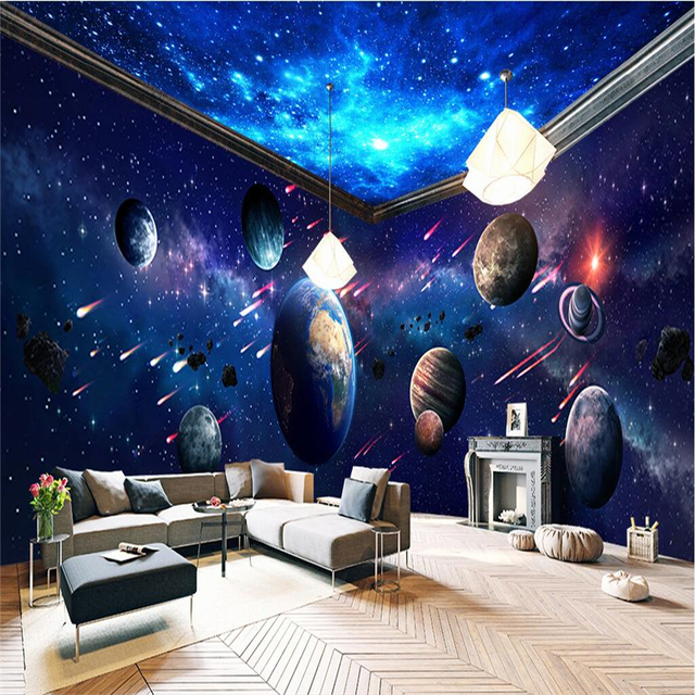 Beibehang space universe planet full house backdrop custom for Space wallpaper for rooms