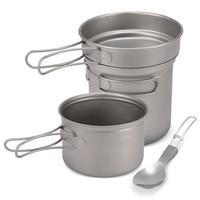 1000ml 750ml Pot Pan Spork Set Camping Titanium Cookware Set for Outdoor Camping Hiking Backpacking Picnic Cooking Equipment