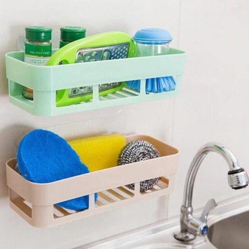 New Plastic Kitchen Bath Accessories Sink Shelf Double Suction Cup Sponge Drain Rack Multi Function Storage Racks 25.5*10*7cm
