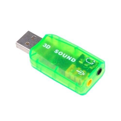 100 pçs/lote adaptador de placa de som usb usb externo áudio 3d 5.1 canais som microfone profissional 3.5mm interface áudio
