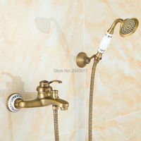 Fabrik Direkt Niedrigen Preis Dusche Wasserhahn Antike Bronze Kupfer Brausegarnitur Bad Telefon Stil Handbrause mit Keramik ZR007