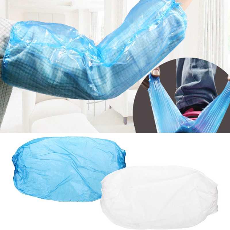 10x impermeable desechable mangas de brazo banda elástica de manga larga limpieza del hogar