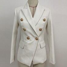 HIGH STREET Newest Baroque Fashion 2020 Designer Blazer Jacket Womens Lion Metal Buttons Faux Leather Blazer Outer Coat