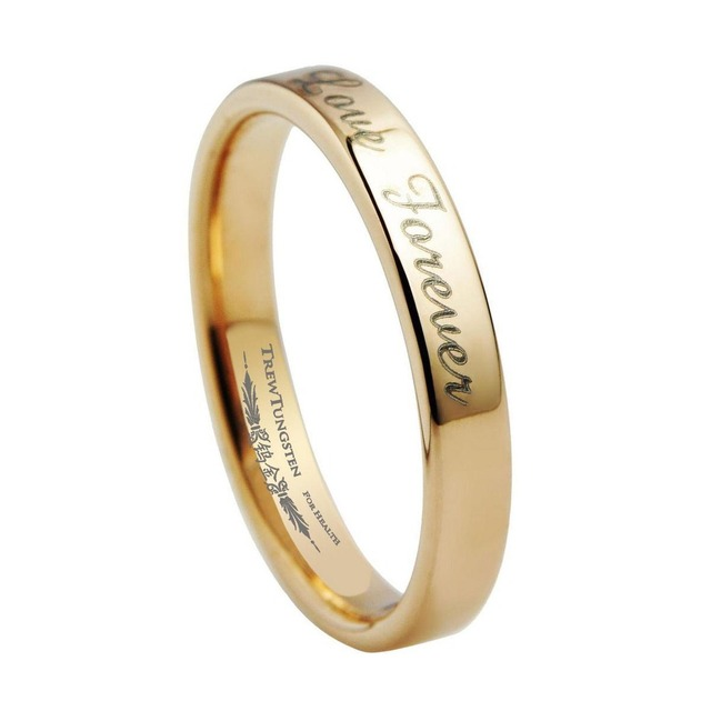 Tungsten Ring Girls Flat Style Rose Gold Wedding Band With Brushed
