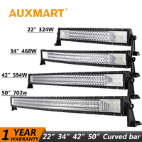 Auxmart LED Bar Curved 702W 594W 486W 324W LED Light bar 22 34 42 50 inch LED Lightbar Work Light Combo LED Auto Lamp