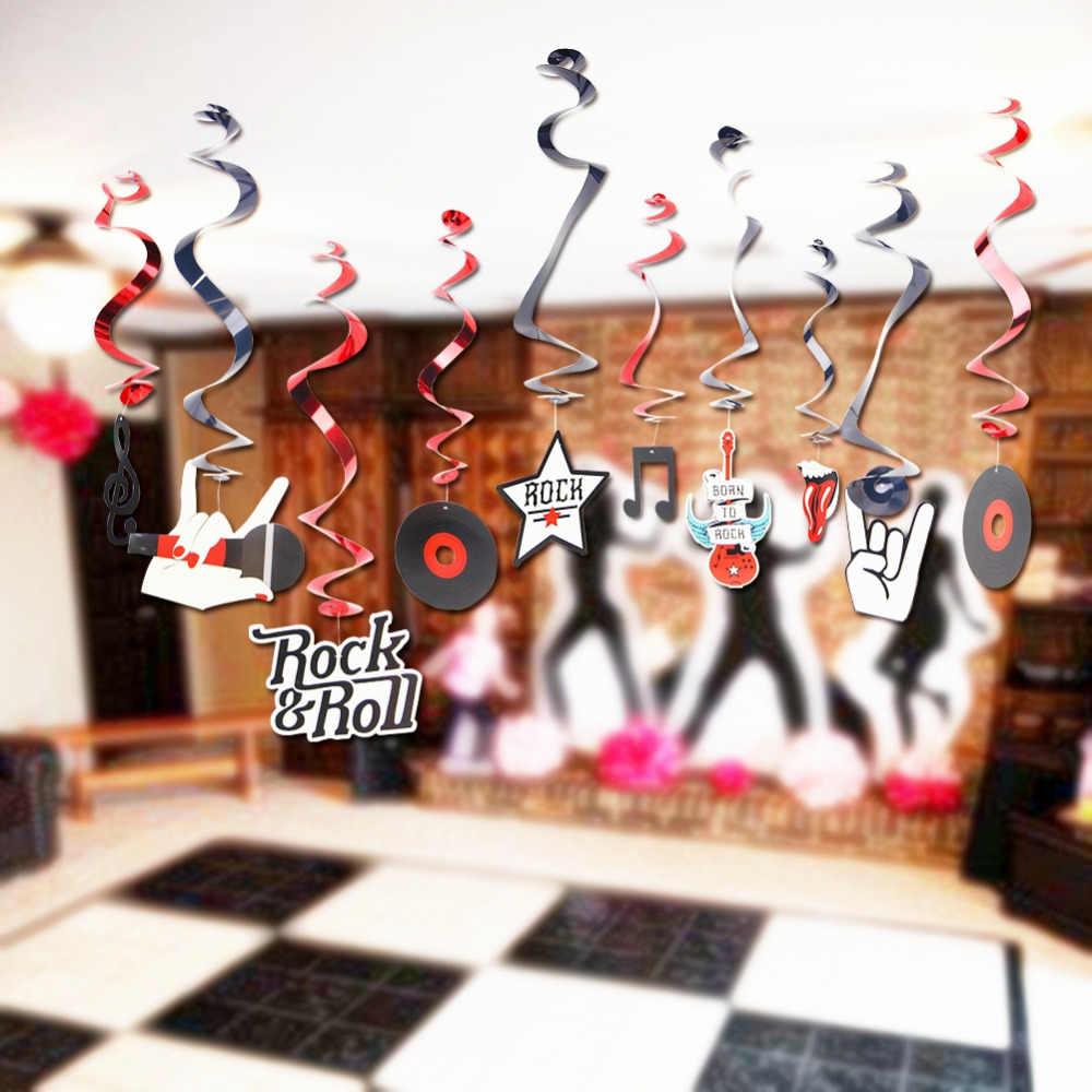 10pc Pkg Rock Star Metallic Foil Hanging Swirls N Roll Whirls