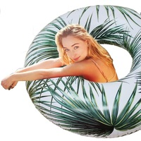 115cm Tropical Palm Tube Float Giant Rainbow Trip Inflatable Swimming Ring Starry Eyed Pool Floating Water Party Toy,HA007