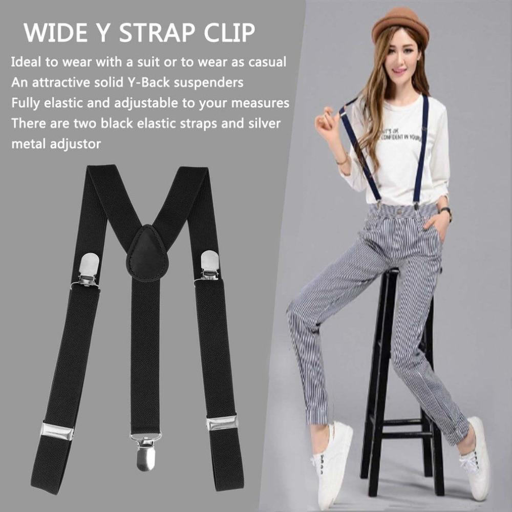 Mens Womens Clip-on Suspenders Elastic Adjustable Y-Back Braces With Bow Tie !